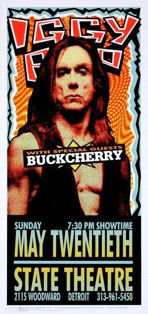 Iggy Pop Concert HANDBILL Buckcherry Artist Mark Arminski