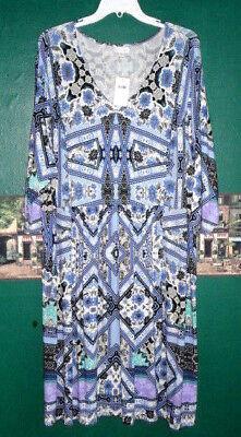 - J Jill Dress 4X Soft Jersey Stretch Retro Floral Deco Lapis Art Print $109 NWOT