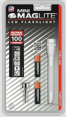 Mini Maglite 2 Cell aaa LED Flashlight Silver 100 Lumems Police Emt Security (Maglite 2 Aaa Flashlight)