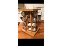 ROTATING WOODEN HERB RACK SPICE RACK KITCHEN ACCESSORY