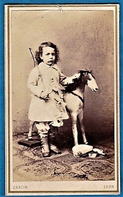 vintage cdv photo young boy whip & toy horse see boots Garcin Lyon France c 1865