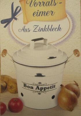 2 x Zink Blecheimer Gemüsebox Kartoffelbox Küchenbox Zwiebelbox Vintage antik