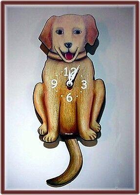 Whimsical DOG CLOCK WITH PENDULUM TAIL / YELLOW LAB NIB ~ LABRADOR RETRIEVER ~