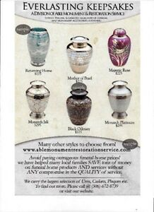 WERE THE LEADING CANADIAN SUPPLIER OF COMPANION CREMATION URNS Moose Jaw Regina Area image 3