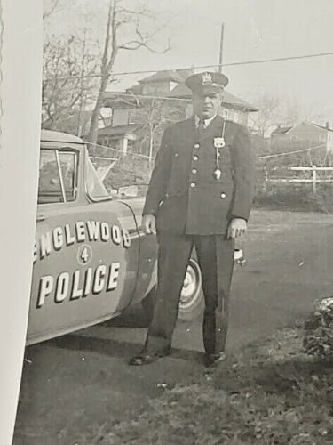 Englewood NJ 1940s 50s Police Officer & Car 4 Photograph