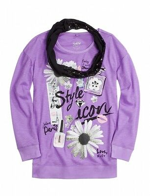 - NWT Justice Girls Style Icon Top Tee w/ Sequin Infinity Scarf UPick Sz NEW