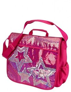 ... Justice Girls Hot Pink & Silver Sequin Star School Messenger Book Bag