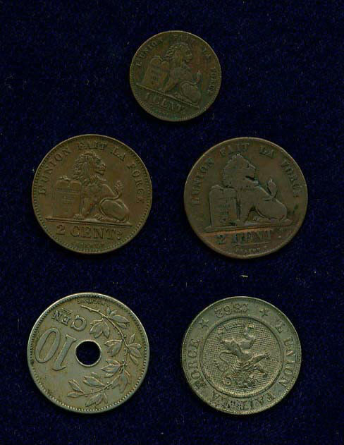 BELGIUM  1 CENTIME: 1862, 2 CENTIMES: 1835 TYPE I, AND 1905 TYPE II, 10 CENTIMES