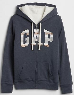 NWT GAP Stripe LOGO Hoodie Full Zipper Hooded Sweatshirt SHERPA Lined Navy Blue (Gap Logo Sweatshirt)