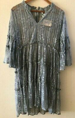 SUNDANCE CATALOG Ellery Lace Dress Dusty Blue LARGE Orig $168 NWT