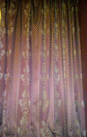 Ruby & Gold Lined Damask Curtains 2m 10cm /2m 60cm