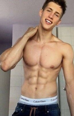 Shirtless Male Beefcake Muscular Athletic Frat Jock Gym Abs CK PHOTO 4X6 F576