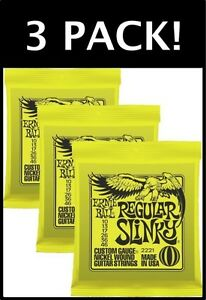 3-PACKS-Ernie-Ball-Regular-Slinky-10-46-Electric-Guitar-Strings-2221-FREE-SHIP