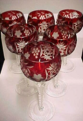 """(6) NACHTMANN TRAUBE 8 1/4"""" RUBY RED WINE HOCK CRYSTAL BOHEMIAN GLASS ~EXCELLENT"""