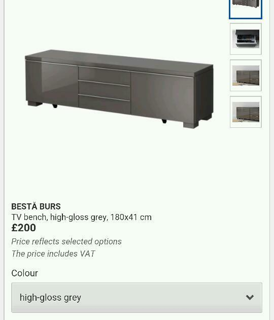 Ikea Besta Burs High Gloss Grey Tv Stand Unit Cabinet