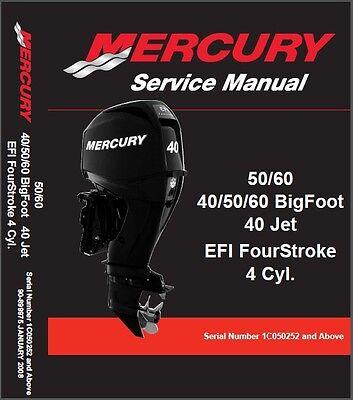Mercury 40 50 60 BigFoot 40 Jet EFI Outboard Motor Service Manual CD