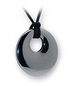 Grounding Silver Hematite Donut Ring Crystal Gemstone Cord Necklace for Strength
