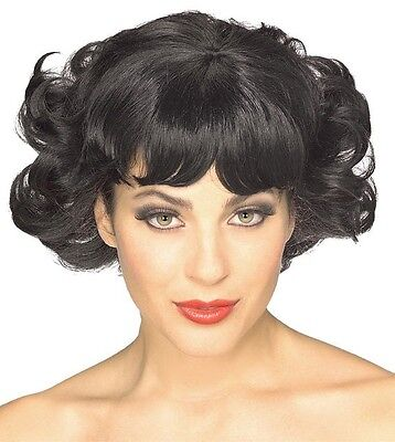 Womens Black Flip Wig Flapper Dark Hair Curls Curly Short 20s 30s Grease - Grease Wig