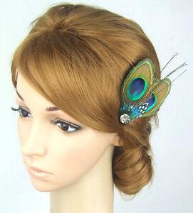 Peacock-Feather-Headpiece-Bride-Fascinator-Bridesmaids-Facinator-Crystal-Diamate