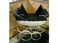 Silver Cross coach built twin dolls pram