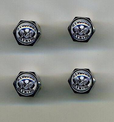 Lynyrd Skynyrd 4 Chrome Plated Brass Tire Valve Caps Car or Bike Lynyrd Skynyrd