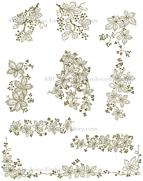 "ABC Designs Sweet Gum Whitework Machine Embroidery Designs SET 5""x7"" hoop"