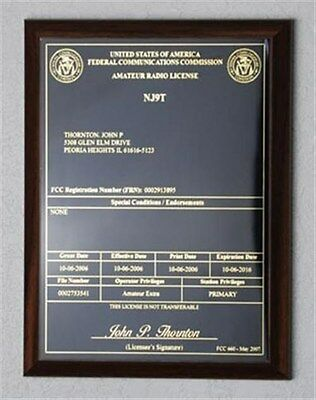 - HAM Radio - Amateur Radio License Call Sign Walnut Plaque - *NICE GIFT*