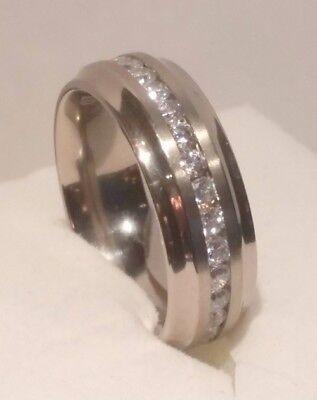 3 Ct Round Channel set Diamond Eternity Band Wedding Ring Solid Titanium