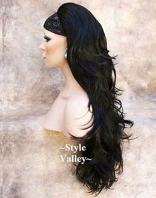 Long Black 3/4 Fall Long Wavy Half Wig Layered Hair Piece color #1 GORGEOUS!