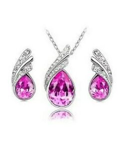 Austrian Crystal Jewellery Set, Stud Earrings, Necklace and Pendant, Ladies Gift