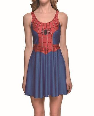 Women pleated Dress Spiderman patchwork Grid Printed dress Sleeveless slim dress