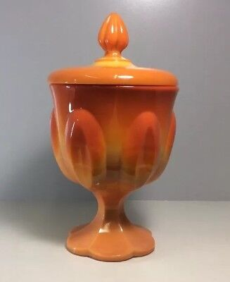 Orange Milk Glass Candy Dish Slag Glass Pedestal Bowl w/Lid Glass Candy Dish Bowl