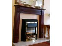 Marble hearth and coal flame electric fire