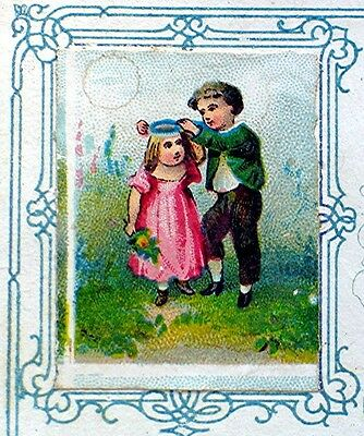 Victorian Trading Card with Postage Stamp size Illustration & Fancy Writing