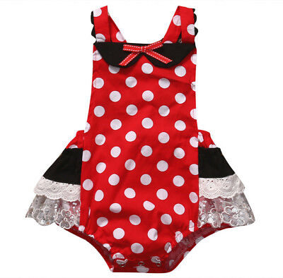 NEW Minnie Mouse Baby Girls Red Polka Dot Ruffle Lace Romper Sunsuit Jumpsuit
