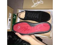 Black Christian Louboutin Suede Low Top Spiked Men's Designer Red Bottom Sneakers