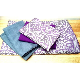 AS NEW Purple & Grey Queen Size Bed Doona Cover Set w/ 4 Pillow Cases
