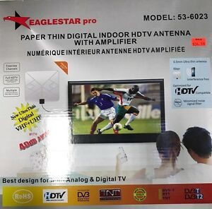 Paper Thin Digital Indoor HDTV Antenna with Amplifier $34.99