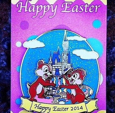 AUTHENTIC DISNEY WDW HAPPY EASTER 2014 CHIP AND DALE PAINTING EGGS LE 3000 PIN