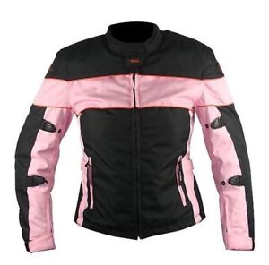Xelement Womens Black/Pink Textile Armoured Motorcycle Jacket
