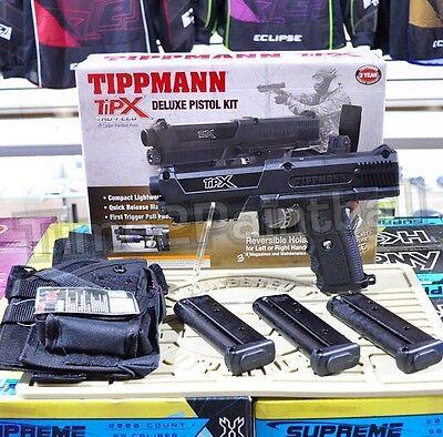 - Tippmann TiPX Deluxe Paintball Magfed Pistol Kit - Black TPX + Holster + 3 Mags