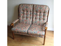 Two Seater Sofa Chair solid oak suite armchair wingback