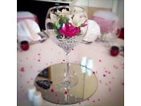 Wedding - 10 x Wine Glass Wedding Centrepieces - FOR SALE JUST £40