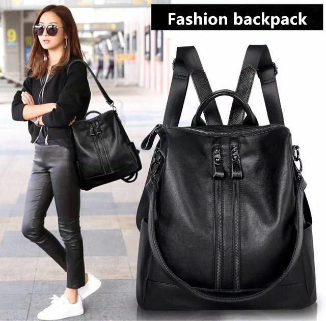 Women Back Leather Backpacks for Teenage Girls Female School