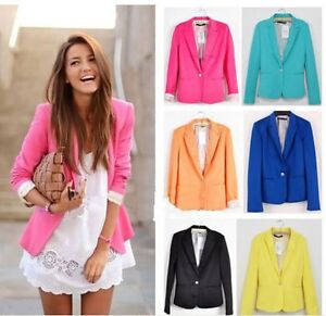 New-Fashion-Womens-Candy-Color-Basic-Slim-Foldable-Suit-Jacket-Blazer-6-Colors