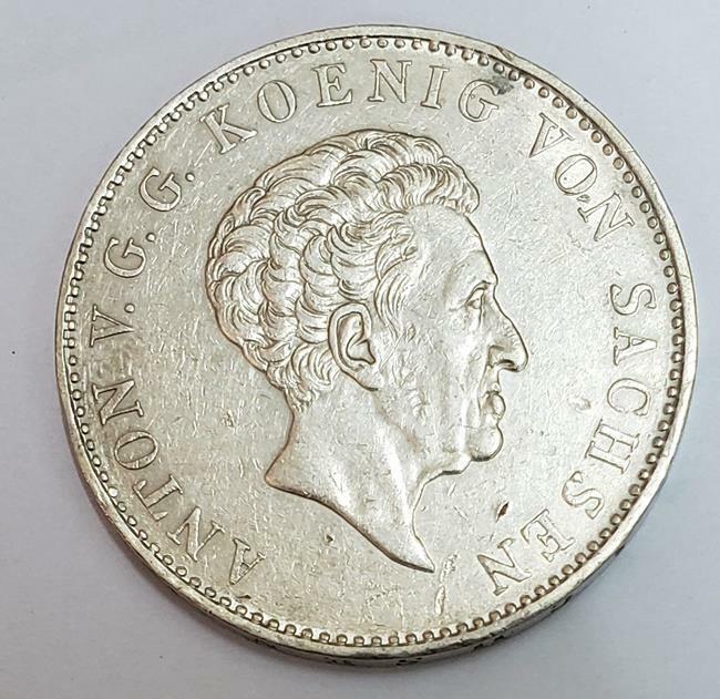 1 Thaler Konig August V 1836 Saxony German States Silver XF