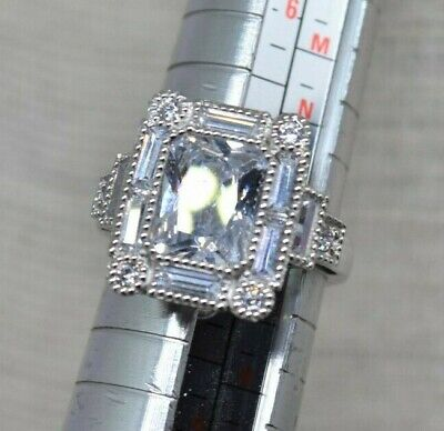 Vintage Sterling Silver ring Emerald Cut Solitare CZ Halo Art Deco Size P #O177