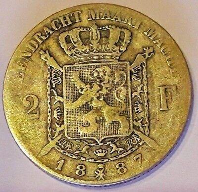 2 Francs frank 1887 FL Z.Fraai LEOPOLD II Belgique Belgïe Belgium TTB