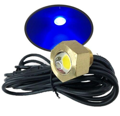 "Marine Boat Underwater LED Blue Brass Drain Plug Light 1/2""NPT 97LM Surface Mt."