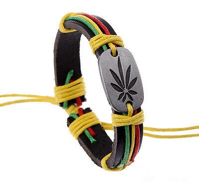 (Wholesale 12pcs Handmade Leather Accessories HEMP FIMBLE LEAF Bracelet for Gift)